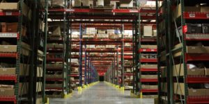 Image of the main aisle in a 3PL providers warehouse.